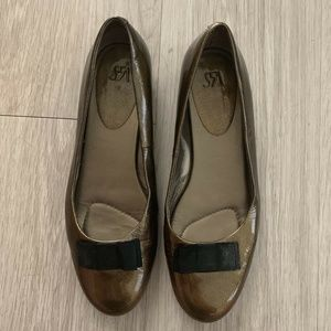Saks Fifth Avenue Ballet Flats Leather Metallic 10